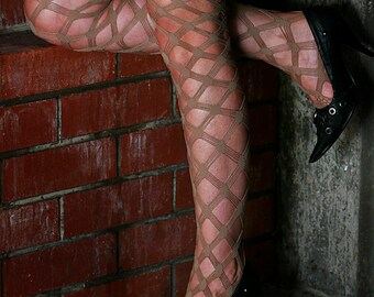 Skin Tan Beige High Quality Large Macrame Fishnet Nylon Stockings Tights Size 10-12