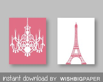 Eiffel Tower Chandelier Prints Set of Two (2)-Instant Download. Paris. French. Wall Art. Home. Decor Baby Girl Room Nursery. Girls room.