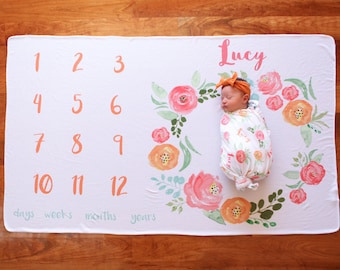 Personalized Memory Blanket - Floral Wreath – Personalized Memory Blanket / Baby Name Blanket