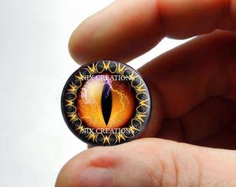 Glass Eyes - Orange Tribal Dragon Eyeball Cabochon for Pendant Earring Ring Blanks - Pair or Single - You Choose Size