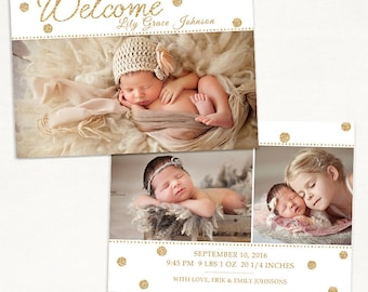 Birth Announcement Template for Photographers - 5x7 Photo Card - Photoshop Template -Sweet Baby 25, Instant Download