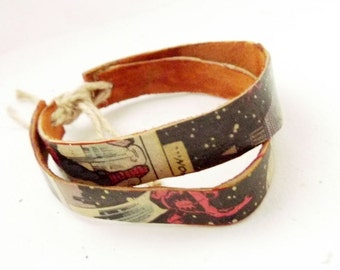 Cuff bracelet, comic book bracelet, comics braclet, wrap bracelet, upcycled comics braclet, faux leather wrap braclet, geeky bracelet, funky