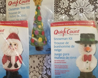 3 Christmas Plastic Canvas Kits Quick Count Santa 3-D Quick Count Snowman & Quick Count Christmas tree