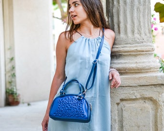 Crossbody blue bag / MeDusa bags/ vegan crossbody bag / everyday small bag / blue vegan bag / designed bag for woman / colorful bag