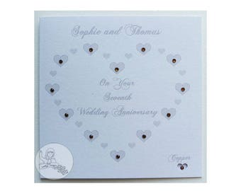 Handmade Personalised Seventh Wedding Anniversary Card 7th Copper Heart Marriage
