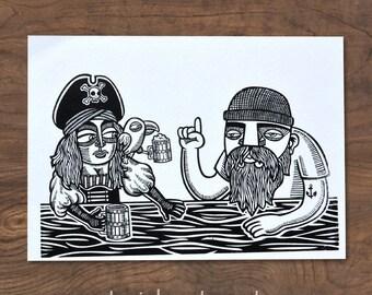 Bar Scene Art Print: screenprinted fine art print for lovers of beer and happy hour (5/5)