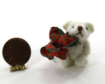 Artisan White Teddy Bear with Holiday Bow