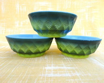 1960s Fire King Kimberly Ombre Green Set of 3 Bowls Mid Century