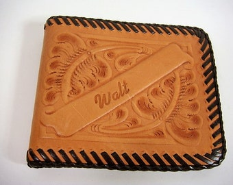 Hand Tooled Leather Wallet Men's Wallet Walt