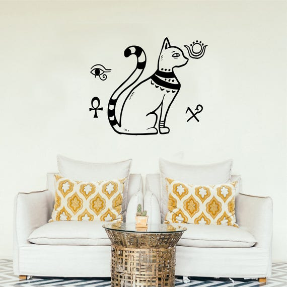 Egyptian Style Wall Decal With National Symbols Egyptian Cat