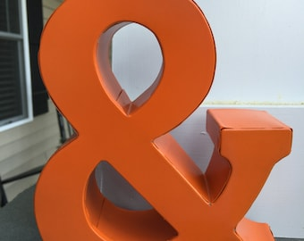 Ampersand, Metal Letters, Wall Decor, Wall Metal Letter, Orange Letter, Shelf Letter, Shelf Metal Letter - New Item