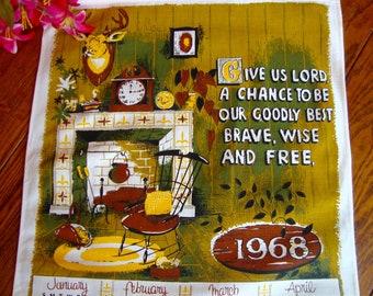 1968 Calendar Towel Vintage Linen Kitchen Towel Wall Hanging Prayer