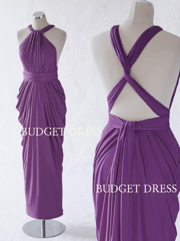 Plum Convertible Bridesmaid Dress Violet Infinity Long