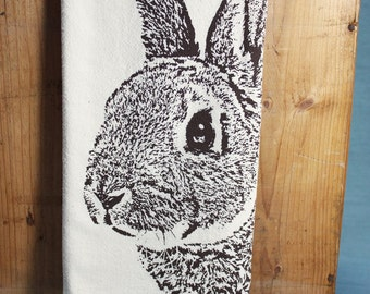 Bunny Tea Towel in Brown, Rabbit Tea Towel - Hand Printed Flour Sack Tea Towel (Unbleached Cotton)