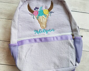 Floral Steer Head Seersucker Backpack - Custom Seersucker Backpack - Toddler Backpack - Girls Diaper Bag - Floral Daiper Bag - Baby Shower