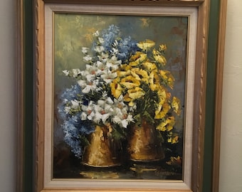 Yellow Poppies and Spring Flowers. Impressionist Oil Painting. Monet like Flowers.