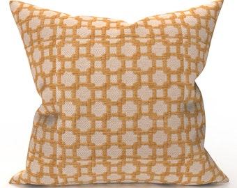 DECORATIVE THROW PILLOW Cover - Orange Cream Geometric Chenille Pillow - Geometric Throw Pillow, Designer Pillow, Home Decor