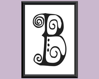 Typography DIGITAL PRINT Monogram Initial Wall Art SpaGirl Letter B 5x7