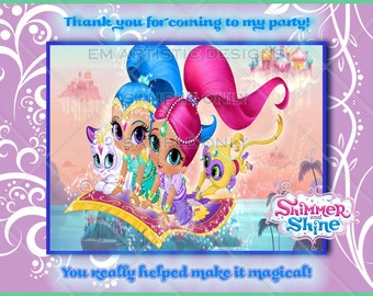 SET OF 12 Nick jr.'s Shimmer and Shine Thank you cards} Envelopes included} A2 flat card} same day ship