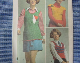 vintage 1970s simplicity crochet pattern 5175 three pullover tops one size