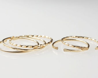 5 Simple Gold Rings, Dainty Rings, Thin Gold Band, Stackable Rings, Thin Band, Dainty Ring, Hammered Band, Minimal Jewellery Australia