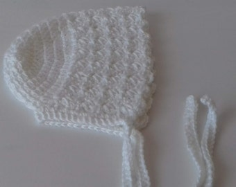 Vintage Style/ Hand Knitted Baby Bonnet/ Hat/ Cap in Rose/ 0-3 months/ Vintage Baby Hat