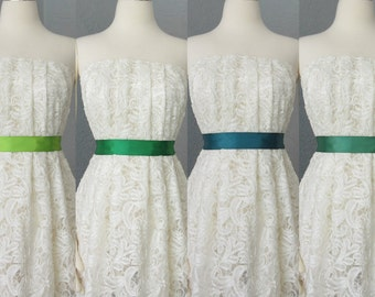 Wedding Bridal Double Faced Satin Ribbon Sash Apple, Emerald, Teal and Forest Green