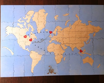 World map puzzle etsy handmade custom wooden world map jigsaw puzzle guest book gumiabroncs Images