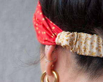 Valentine's Day Halomaia Knotted Fabric Headband with Elastic//Headband for women and girls//Turban-Style Headband for women//Chic Headband