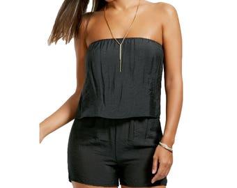 Black Sleeveless Rayon Romper Shorts Top - Black