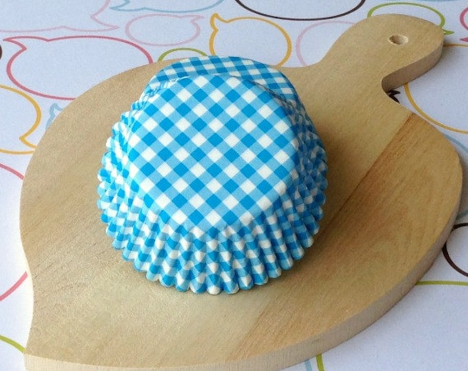 Blue Gingham Standard Cupcake Liners