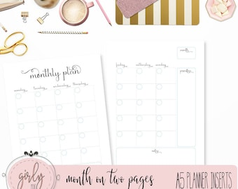 "MONTHLY PLANNER UNDATED | Planner Printable Inserts A5 | ""Darling Planner Collection"""