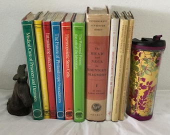Set of 10 medical reference books Library Vintage Colorful Dustjackets  Home decor