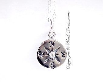 Compass Necklace - Sterling Silver with Genuine 1 Point Diamond Charm - Insurance Included