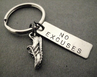 RUN with NO EXCUSES Key Chain / Bag Tag - Ball Chain or Key Ring - Inspirational Runner Key Chain - Motivational Runner Bag Tag - Guy Runner