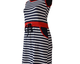 Striped dress with red belt 0133