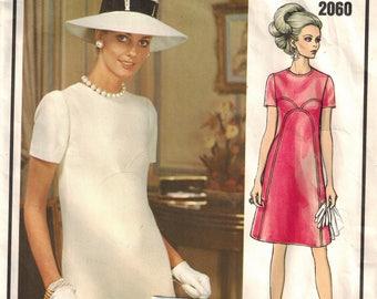 1970's Vogue 2060 Vogue Paris Original Pierre Balmain Dress Retro Mod Dress Sewing Pattern Vintage Size 14 with LABEL