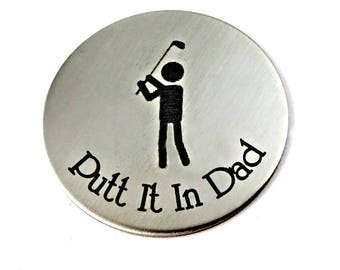 Putt It In Dad - Magnetic Golf Ball Marker & Leather Keychain Case -  Grandpa Dad - Father's Day