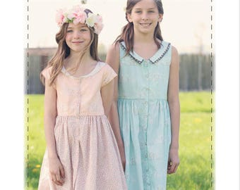 Camellia Dress, Sizes 2t-12y, PDF Children's Pattern, girls dress, collared dress, button down dress, digital clothing pattern