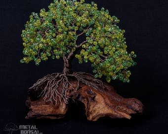 Wire Tree Sculpture - Wire Bonsai Tree - Wire Tree - Bead Tree - Wire Sculpture - Home Decor *Beautiful Green Crystal Bead Tree Sculpture*
