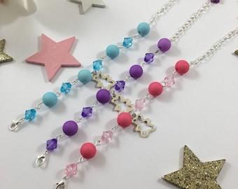 Pink, purple or blue Teddy bear silver charm girl bracelet