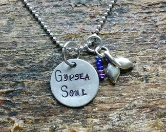 Gypsea Soul hand stamped pendant. Your choice of either Necklace or Keychain