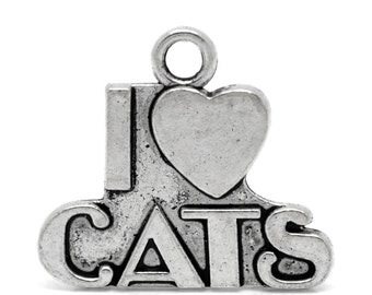 10 I LOVE CATS Silver Metal Charms . chs0796