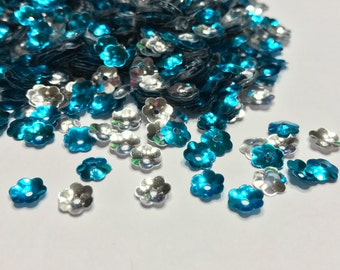 silver and blue color flower sequins / confetti 6 mm (35)M
