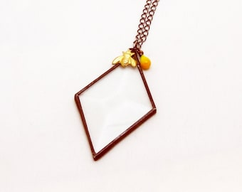 BumbleBee | Beveled Glass | Pendant | Chain | Gift Under 50 | Eclectic Jewelry | Geometric | Bohemian | OOAK | Eccentric | Gift for Women