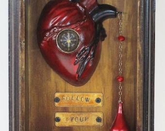 Follow your Heart, Mixed Media Assemblage Sculpture