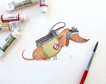 Ghostbusters Dachshund Art Print | Dog Wall Art | 8x10 Venkman Illustration | Kid's Room Decor