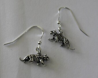 Sterling Silver 3D TIGER Earrings - Cat, Wildlife