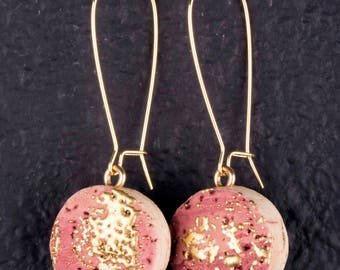 Embossed Gold on Wine Stained Cork Earrings
