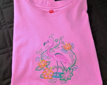 Flamingo and Flower Fancy Tee